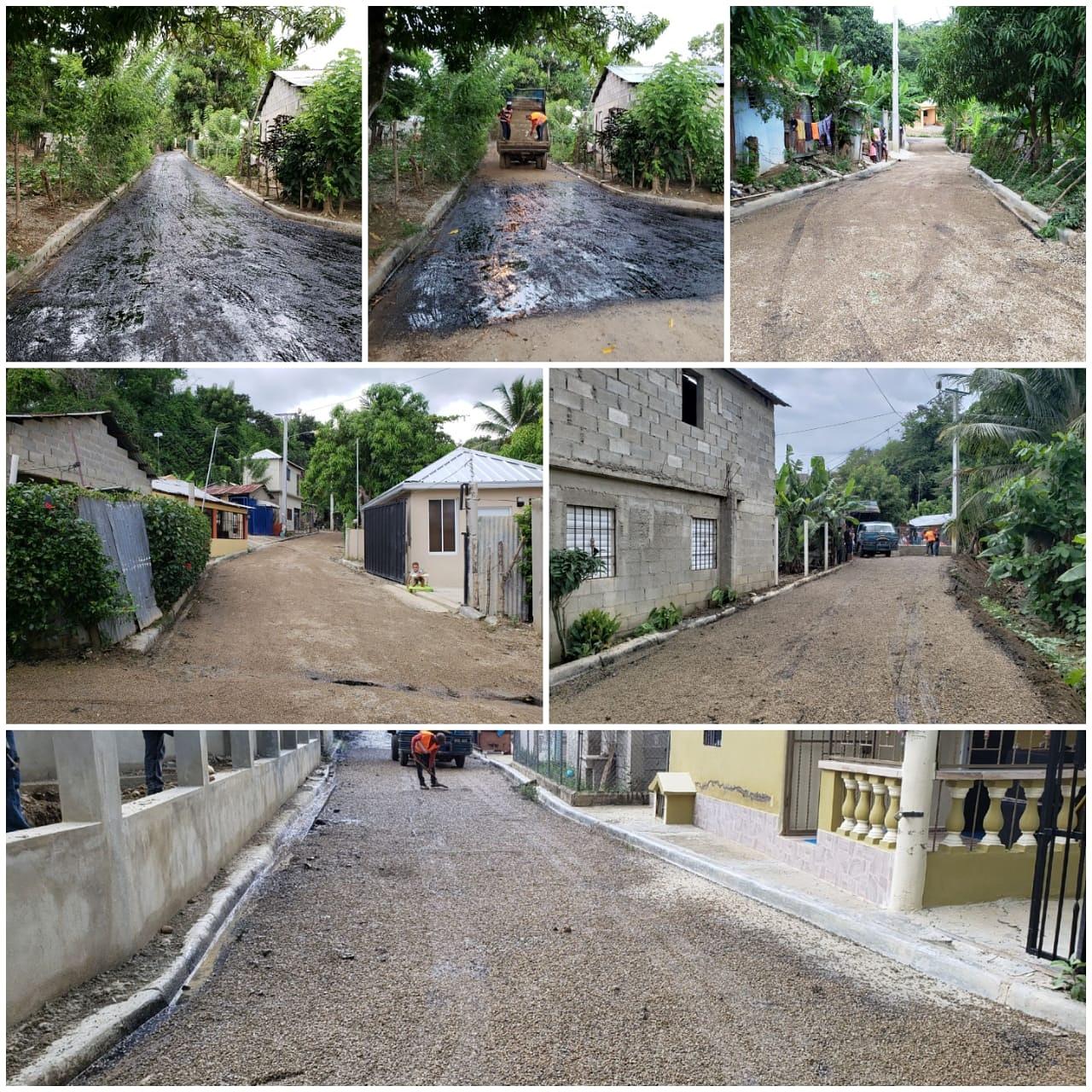 La Alcaldía de continua su programa de preparación e imprimación de calles para seguir logrando el asfalto a todas las comunidades del municipio.