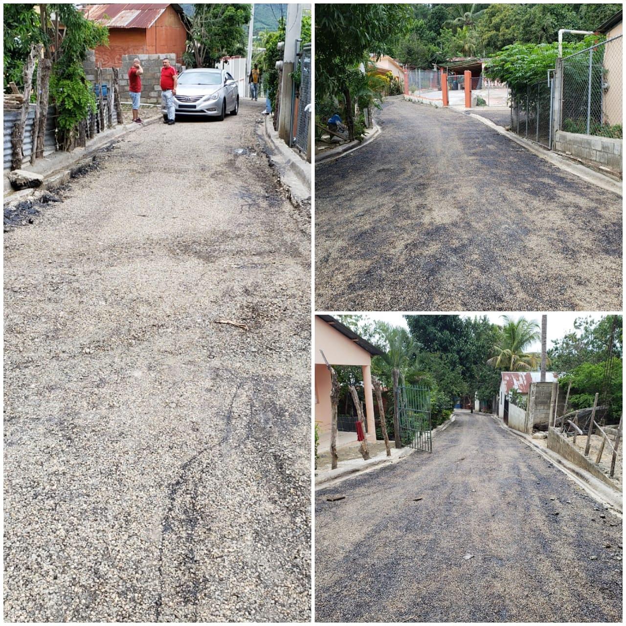 La continua con el programa de imprimación de calles en las comunidades faltantes. Imágenes del sector San Pedro.